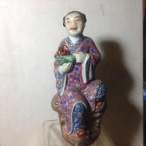 Antique Chinese Famille Rose Porcelain Figure Impressed Mark