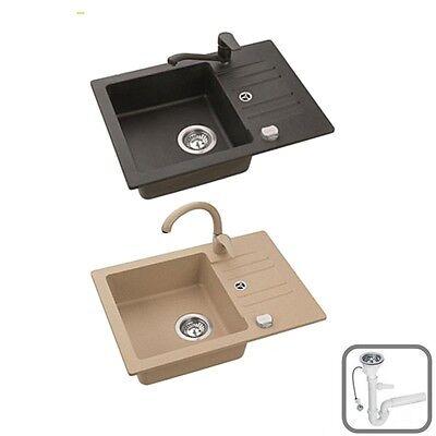 Spüle Spülbecken SKIP10 Granit Küche 58x42 Schwarz Beige Armatur SWAN oder LOW - Swan Küche