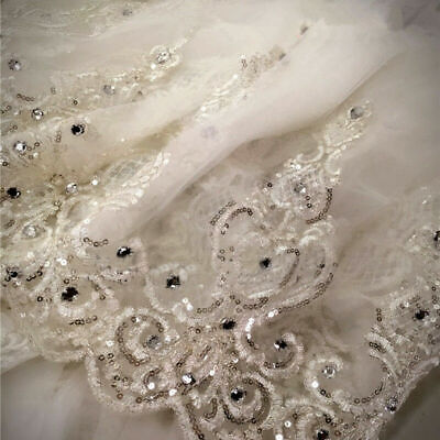 Sequins crystal Bridal Wedding Veil Cathedral Long 1Tier With Comb lace ivory 3m - Crystal Veil