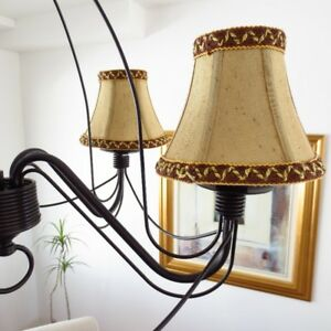 Brand New Bell Candelabra Chandelier Shades Covers Gold Brown x3