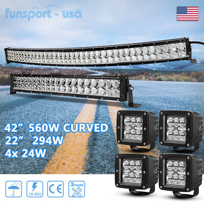 """Curved 42Inch 4D LED Light Bar Combo+22in+4x 4"""" Pods For Ford Jeep 4WD Offroad"""