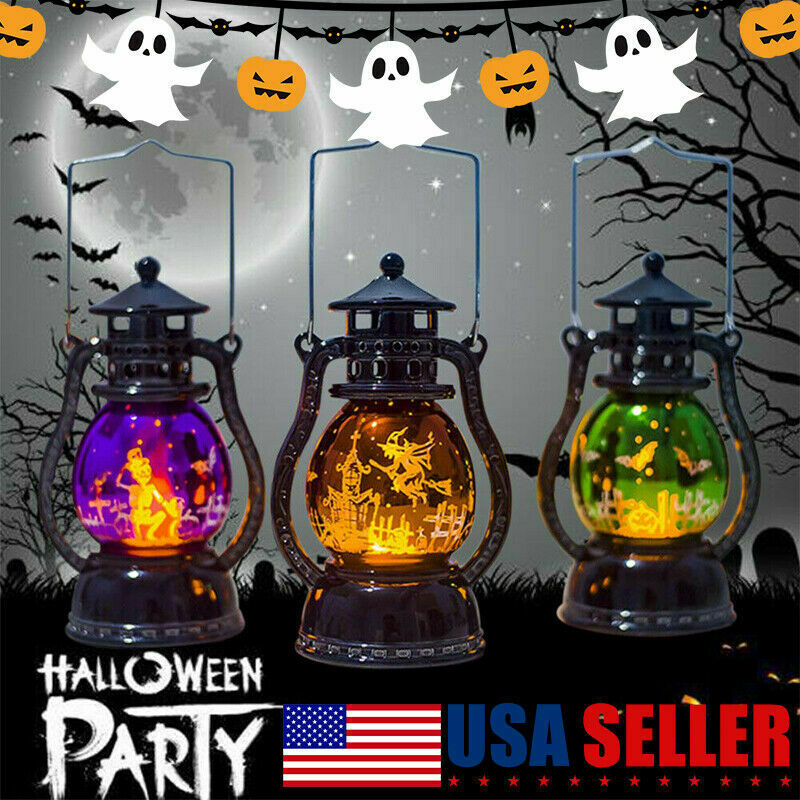 Halloween Lamp Flame Pumpkin Castle Witch Lights Party LED Lantern Hanging Gift