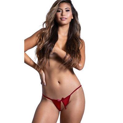 - Open-Crotch Mini Panties Satin Lace Bikini Thongs Crotchless Knickers Lingerie