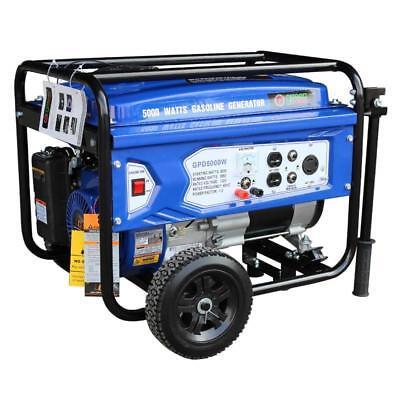 Gasoline Powered Portable Recoil Start Generator - 5000 Watts of starting power