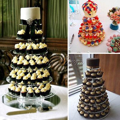 4 Tier Crystal Clear Acrylic Round Cupcake Stand Tower Wedding Birthday Display Ebay