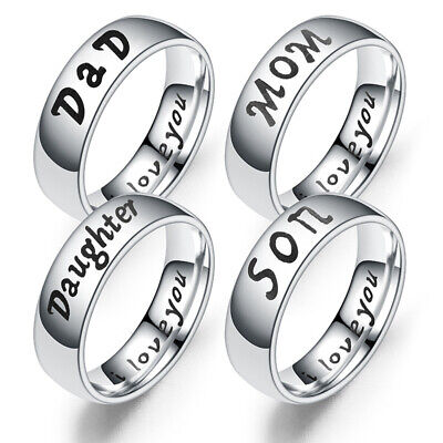 Family Ring Jewelry (Women's/Men's Family Warm Lovers Ring Stainless Steel Jewelry Relatives Gift )