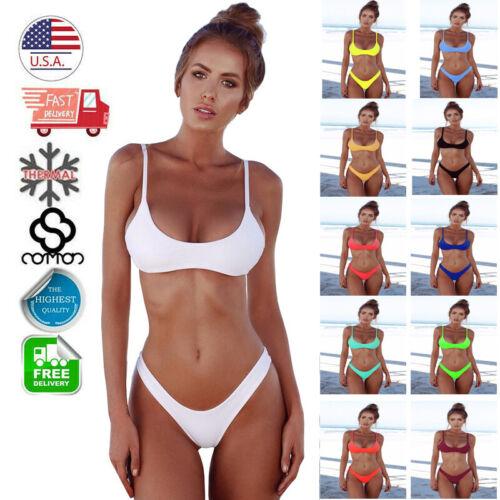 Womens Swimsuit Push-up Padded Triangle Swimwear Bra Top Thong Bottom Bikini Set Clothing, Shoes & Accessories