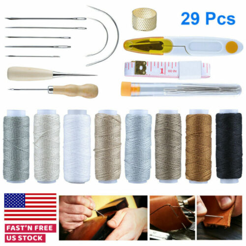 29 Leather Craft Punch Tools Stitching Carving Working Sewing Saddle Groover US - $7.99