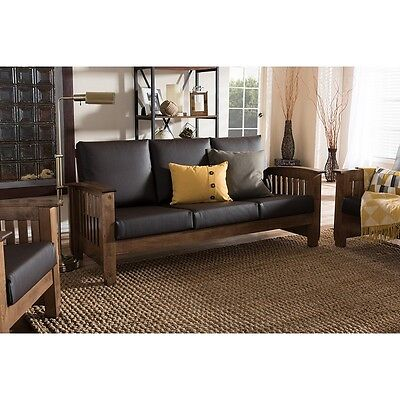 Charlotte Modern Classic Mission Walnut Brown Wood Faux Leather 3-Seater (Brown Faux Leather Sofa)