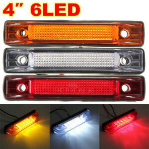 1x 4'' 6-LED Clearance Side Marker Light Indicator Lamp Strip