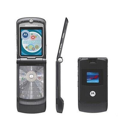 Black&Silver&Blue Motorola RAZR V3 (Unlocked) Classic Cellular Fold Phone GSM