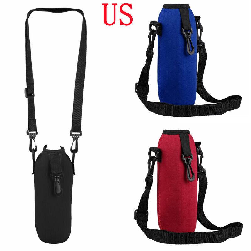 Adjustable Insulated Neoprene Water Bottle Zipper Bag Belt H