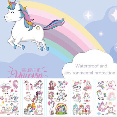 Temporary Tatoos For Kids (10X Cartoon Unicorn Tattoo Waterproof Temporary Tattoo For Kid Body Art)