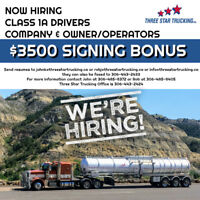 CLASS 1A DRIVERS or OWNER/OPERATORS - $3500 SIGNING BONUS