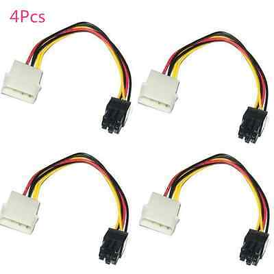 4x 4-Pin ATX Male Molex to 6-Pin PCI Express PCIe Converter Power Adapter Cable