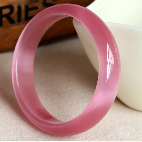 60mm Chinese Natural pink Lavender Nephrite Jade/ Gems Bracelet Bangle