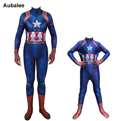 Adult Kids Boys Avengers Endgame Captain America Costume Steven Rogers Jumpsuit - Captain America Costume Adult