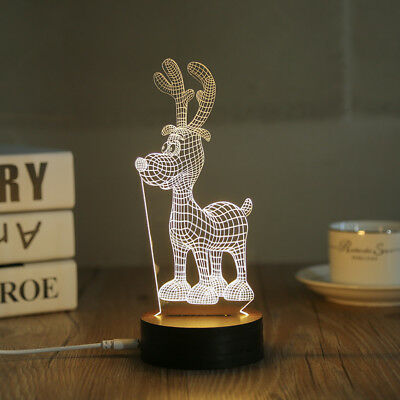 3D LED Night Light Desk Table Lamp Christmas Decoration Christmas Deer (CRMDR-B) for sale  Shipping to India