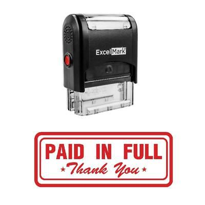 Box Paid In Full Thank You Stamp - Self-inking Red