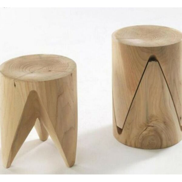 SS006 Retro Solid Wood Tree Stump Stool