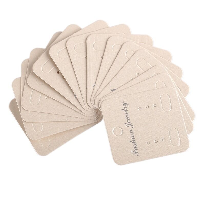 100PCS/LOT Beige Earring Display Cards For Packing  Jewelry Gifts 4.3*4.9cm