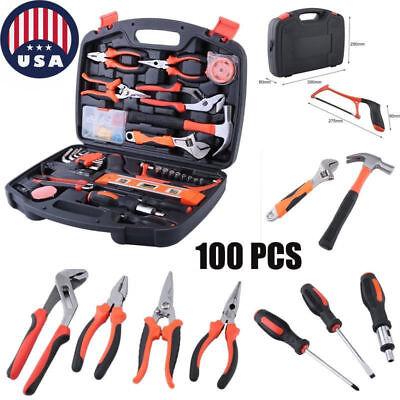 100 PCS Household Tools Handy DIY Gif Garden Home Repair Tool Kit Box Hard Case