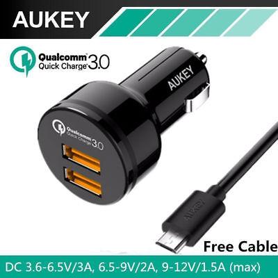 Aukey Cc T8 Dual Qc 3 0 Port  Qualcomm Quick Charge 3 0 Usb Car Charger