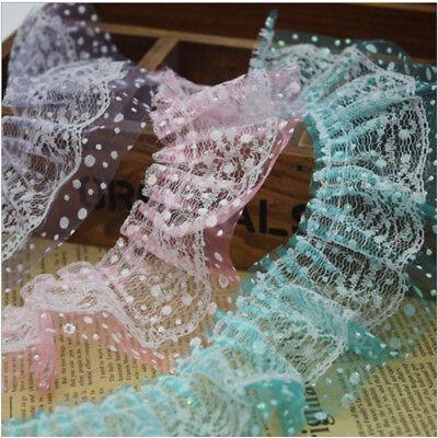 Ribbon Laces (1 -10 Yards 2-layer Pleated Organza Lace Edge Trim Gathered Dot Ribbon)
