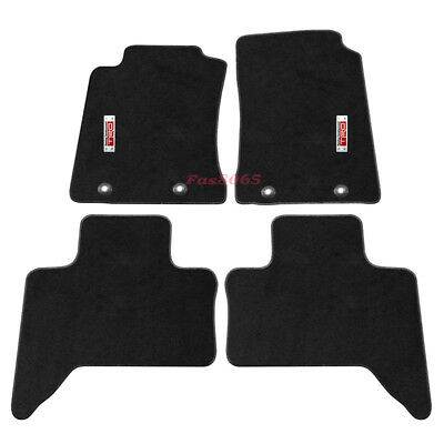 For 11-14 Tacoma Xtra Cab Black Nylon Floor Mats Carpet W/ Metal TRD Emblem