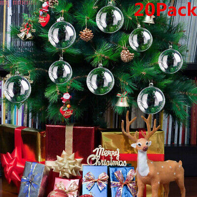 20Pcs Plastic Clear Ball Christmas Tree Pendant Decor Open Bauble Ornaments DIY ()