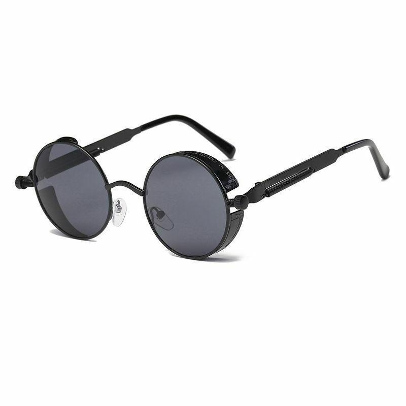 Metal Round Steampunk Sunglasses Men Women Fashion Glasses Brand Designer Retro