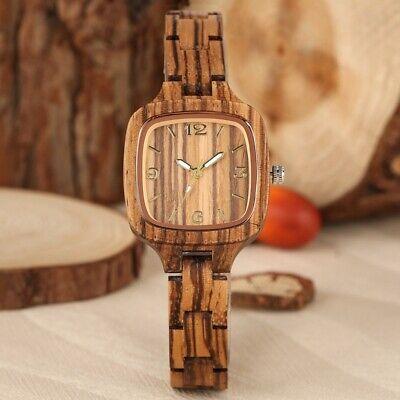 Classical Women's Wooden Watch Square Case Quartz Wrist Watches Bamboo Bracelet Teens Wooden Bangles