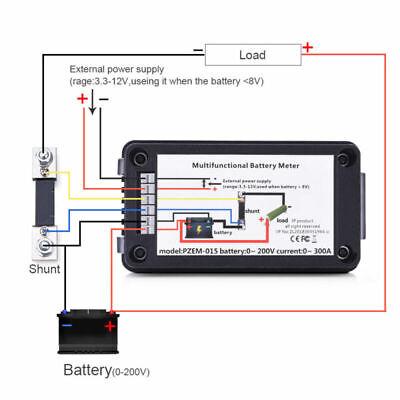 Lcd Display Dcbattery Monitor Meter 0-200v Volt Amp For Cars Rv Solar System
