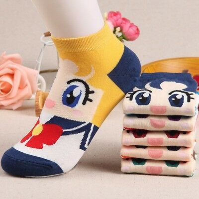 Cute Sailor Costume (Cute Anime Costume Cartoon Sailor Moon Cotton Ankle Low Cut Short Funny)