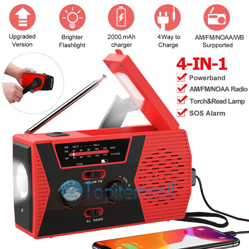 4in1 Emergency Solar Hand Crank AM/FM/NOAA/WB Radio LED Torch USB Charge 2020New