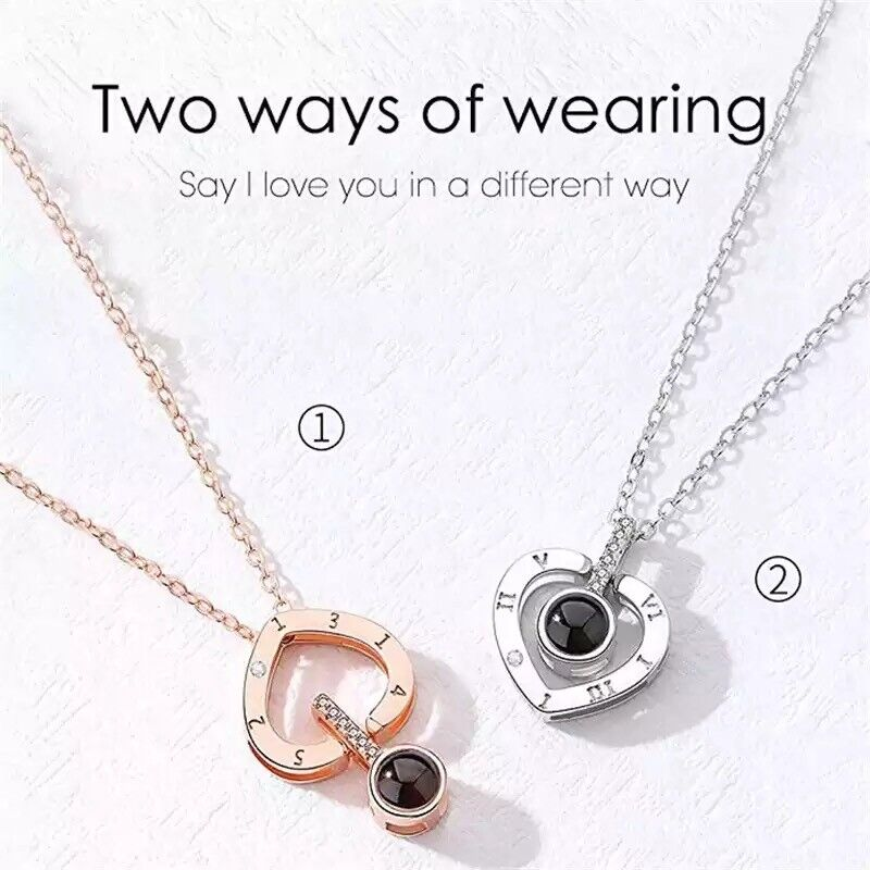 I LOVE YOU In 100 languages Projection heart shape Necklace For Memory Of LOVE Fashion Jewelry