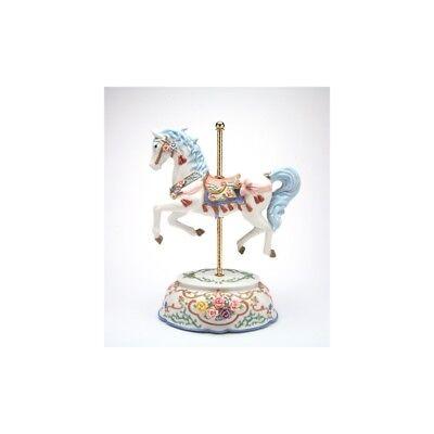 "NEW MUSIC BOX ""TASSELED CAROUSEL"" WHITE+BLUE+PINK HORSE PORCELAIN FIGURINE-NAIS"