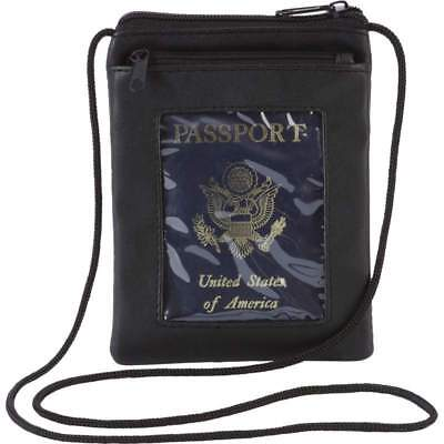 Leather Security Neck Strap Bag Hidden Passport Case Travel Wallet Money Holder