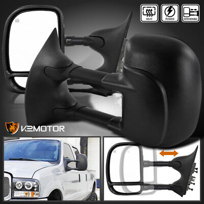 99 07 Ford F250 F350 F450 F550 Super Duty POWERHEATED Towing Side Mirrors PAIR