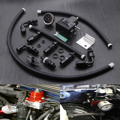 Adjustable Auto Fuel Pressure Regulator Kit 0-100PSI Oil Gauge AN 6 Fitting End