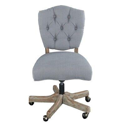 Linon Kelsey Wood Upholstered Swivel Office Chair In Gray