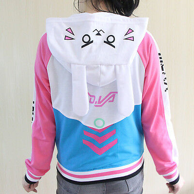Adult Overwatch DVA D.va Women Lady Baseball Jacket Cosplay Costume Hoodies Coat