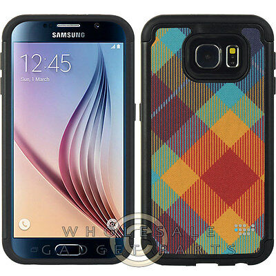 Samsung Galaxy S6 Hybrid Case Comfort Series Multi-Colored Plaid Cover