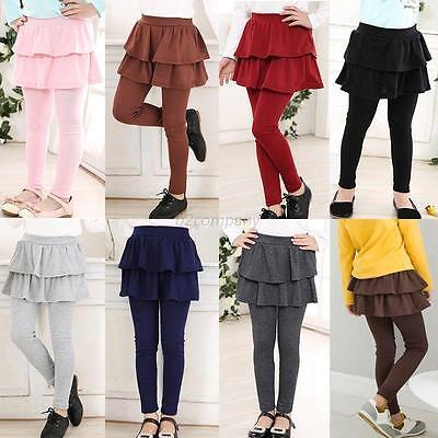 Hot Baby Kids Girl Ruffle Tutu Skirt Elastic Culottes Leggings Tight Pants 3-11Y - Leggins Hot Girls