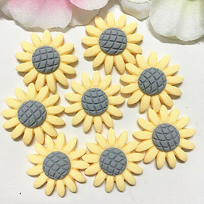 Sunflower Resin - 16pcs Yellow Sunflower 22mm Resin Flatback Cabochon ScrapbookIng For Phone/Craft