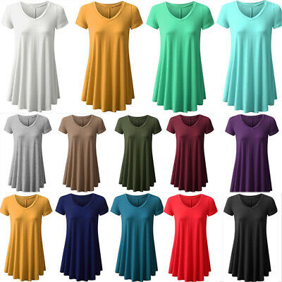 Women Summer Short Sleeve Casual Party T-shirt Skater Dress A Line Maxi Dress