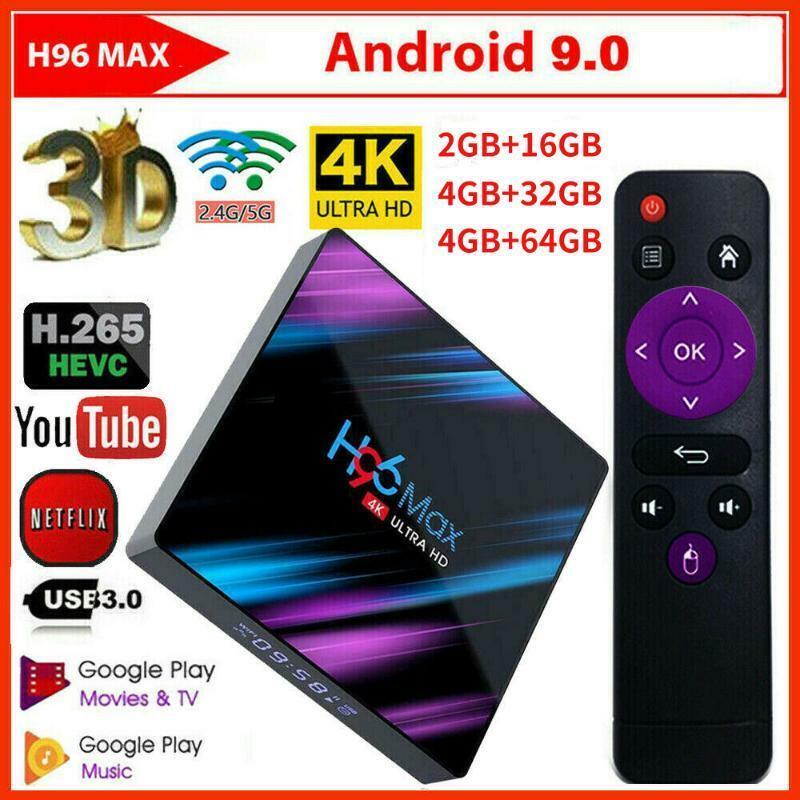 H96 Max TV Box 4G 16/32/64G Android 9.0 WiFi RK3318 USB Quad