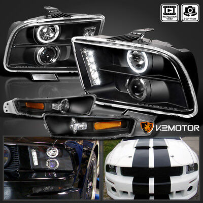 2005-2009 Ford Mustang LED Halo Projector Black Headlights+Bumper Lamps Pair for sale  Shipping to Canada