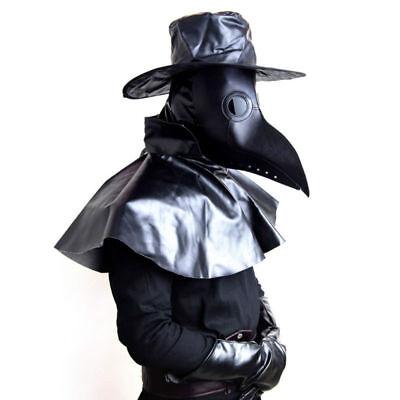 Plague Doctor Bird Beak Mask Steampunk Gothic Halloween Costume Black Lenses