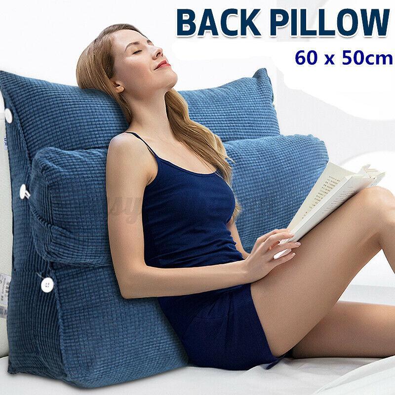 Ergonomisches Rückenkissen + Nackenrolle Keilkissen Dunkelblau Für Sofa 60x50cm
